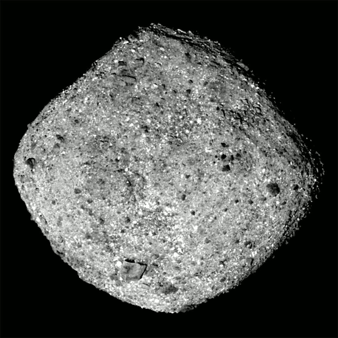 This image of Bennu was taken by the OSIRIS-REx spacecraft from a distance of around 50 miles (80 km). Credits: NASA/Goddard/University of Arizona
